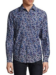 1...Like No Other Floral Print Button Down Shirt Blue Multi
