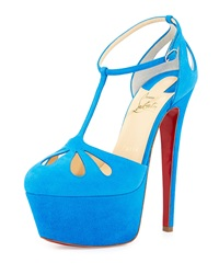 Christian Louboutin Mayada T Strap Platform Red Sole Pump Blue