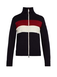 Moncler Striped Wool Blend Sweater Navy