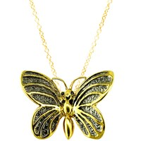 London Road 9Ct Yellow Gold Kew Bugs Diamond Detail Butterfly Pendant Necklace Gold