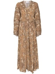 Nanushka Snake Print Maxi Dress Brown