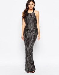 Girl In Mind Leone Premium Sequin Low Back Maxi Dress Black