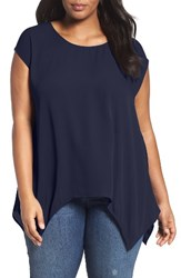 Sejour Plus Size Women's High Low Tee Navy Peacoat