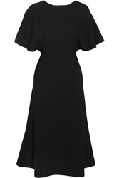Valentino Cape Effect Crepe Dress Black