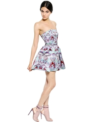 Mary Katrantzou Strapless Rose Lake Printed Satin Dress Mint Multi