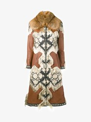 Alexander Mcqueen Shearling And Fox Fur Coat With Tapestry Embroidery Tan Cream Brown