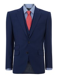 New And Lingwood Thames Panama Peak Ticket Pocket Suit Jacket Navy