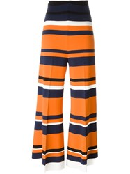 Sportmax 'Calao' Striped Palazzo Trousers Yellow And Orange