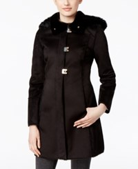 Calvin Klein Faux Shearling Hooded Princess Coat Black