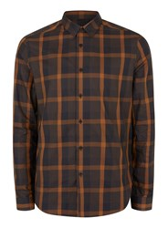 Topman Brown Large Check Viscose Dress Shirt