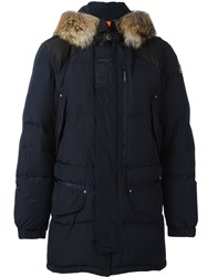 Parajumpers Coyote Fur Trim Padded Coat Blue