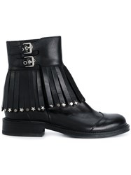 Htc Hollywood Trading Company Embellished Tassel Buckle Boots Leather Black