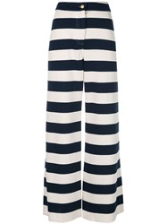 Harvey Faircloth Striped Wide Leg Trousers White