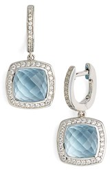 Women's Lafonn 'Aria' Square Drop Earrings Silver Blue Topaz