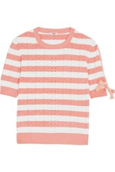 Fendi Lace Up Striped Pointelle Knit Top Peach