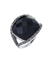 Lord And Taylor Sterling Silver Onyx Dome Ring Onyx Silver