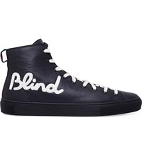 Gucci Major Blind For Love Leather High Top Trainers Black