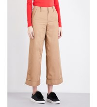 Moandco. Wide Leg Cotton Trousers Bronze Brown