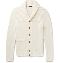 Incotex Shawl Collar Ribbed Cotton Cardigan Off White
