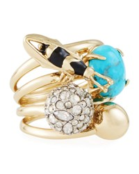 Alexis Bittar Pave Crystal Ball And Bee Ring Multi