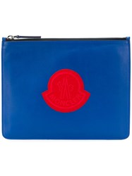Moncler Embroidered Logo Clutch Blue