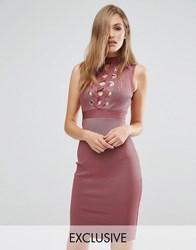Wow Couture Bandage Lace Up Front Dress Rose Brown