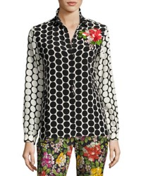 Etro Floral Embroidered Silk Dot Blouse Black Black Pattern