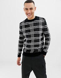 Only And Sons Textured Checked Knitted Jumper Cloud Dancer Black