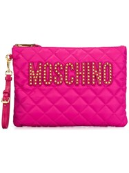 Moschino Quilted Clutch Pink Purple