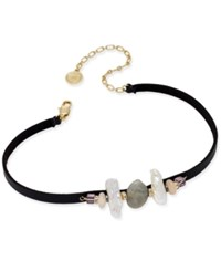 Paul And Pitu Naturally 14K Gold Plated Stone Faux Leather Choker Necklace Multi