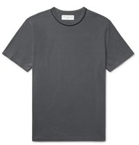 Officine Generale Piped Cotton Jersey T Shirt Dark Gray