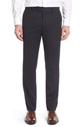 Monte Rosso Men's Flat Front Solid Wool Trousers Blue
