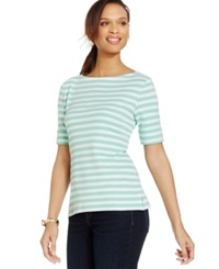 Karen Scott Petite Striped Boat Neck Tee Mint Sea