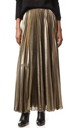 Bcbgmaxazria Pleated Maxi Skirt Black Gold