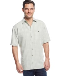 Campia Moda Big And Tall Short Sleeve Soft Touch Textured Plaid Shirt Avocado