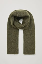 Cos Ribbed Wool Blend Scarf Green