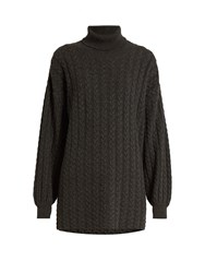 Ryan Roche Roll Neck Cable Knit Cashmere Sweater Dark Grey