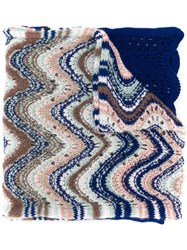 Missoni Perforated Knit Scarf Blue