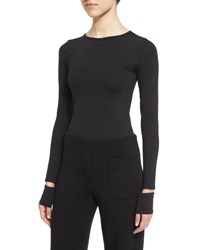 Helmut Lang Fitted Slit Cuff Stretch Jersey Tee Black
