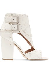 Laurence Dacade Rush Studded Quilted Leather Sandals Off White