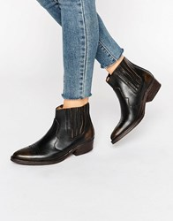 Selected Femme Type Black Distressed Leather Western Ankle Boots Black