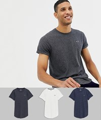 Hollister 3 Pack Curved Hem T Shirt Seagull Logo In White Navy Grey Multi