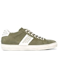 Leather Crown Studded Sneakers Green