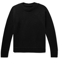 The Elder Statesman Christmas Light Palm Intarsia Cashmere Sweater Black
