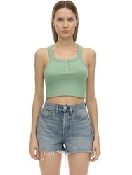 3X1 Jacob Ribbed Jersey Crop Top Green
