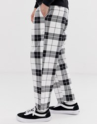 Obey Fubar Pleated Check Trouser In White