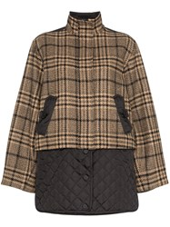 Ganni Check Panel Quilted Coat Black