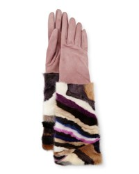 Gepa Gloves For Neiman Marcus Long Suede And Mink Blush Multicolor