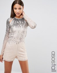 Asos Tall Night Ombre Sequin Playsuit With Cut Outs Multi
