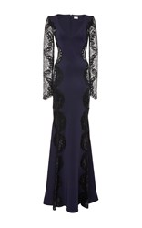 Alexis Mabille Lace Detail V Neck Gown Navy